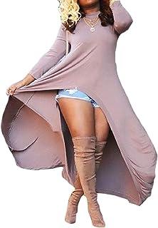 Keaac レディースカジュアルロングスリーブクルーネックルースプレーン不規則ブラウスドレス