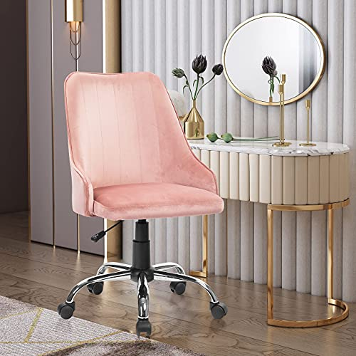 REFICCER Home Office Fabric Chair, Tufted Velvet Task Desk Chairs, Adjustable Swivel Soft Comfy Reading Armchair, Comfortable Executive Accent Chair, Relaxing Seating Sillas, Mid-Back Rose