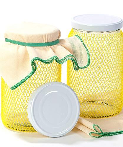 myFERMENTS Tarros Grandes de Cristal con Tapa - Botes de Boca Ancha de 2l - con 2 Muselinas de Algodón (50*50 cm) y 2 Gomas. Ideal para Hacer Kombucha, Kefir y Leches Vegetales Fermentadas -Pack de 2