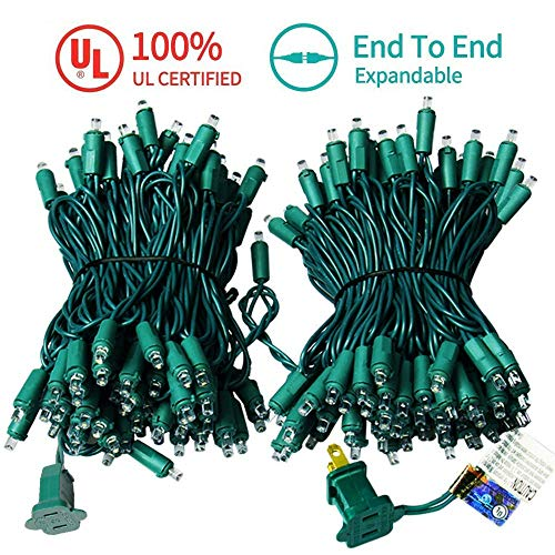 MZD8391 Upgraded 66FT 200 LED Christmas Lights Outdoor String Lights -100% UL Certified- Christmas Tree Lights Decoration for Wedding Party Patio Porch Garden, White (END to END CONNECTABLE)