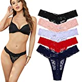 5-Pack Women's Thin Lace Hollowed-Out T-Back Low Waist Ice Silk Sexy Cheeky Thong See-Through Panties(S/US 0-2, Black and White and red and Orange and Dark Blue)