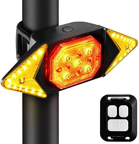 Dricar Fahrrad-Rücklicht, Blinker, USB wiederaufladbar, wasserdicht, LED-Rücklicht Warnlicht mit kabelloser Fernbedienung, 5 Lichtmodi Fahrradanzeigen