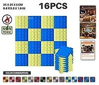 エースパンチ 新しい 16ピースセット青と黄 250 x 250 x 50 mm ピラミッド 東京防音 ポリウレタン 吸音材 アコースティックフォーム AP1034
