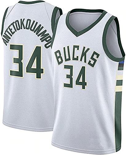 Movement Baloncesto para Hombres Antetokounmpo,NBA Bucks 34 Ropa Jerseys Fresco, cómodo, Camiseta Uniformes Deportivos Tops(Size:/M,Color:G1)