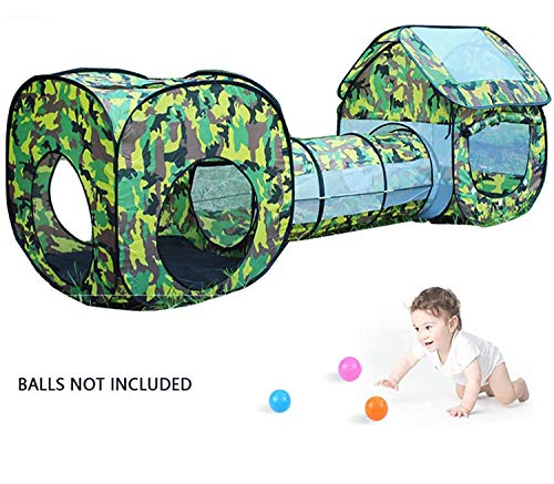 Speeltent voor kinderen, 3-in-1 pop-up speelhuis tent speelgoed Peuters kruiptunnel en ballenbakset, tunneltent Baby speeltent, voor binnen buiten (ballen niet inbegrepen)