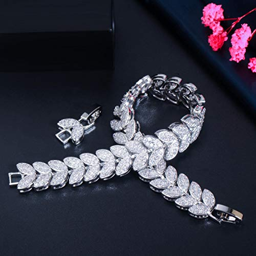 Bracelet For Women Luxury Fashion Leaf Shape Micro Pave Cubic Zirconia Stone Rose Gold Color Ladies Wedding Party Bracelets Bangle Silvercolor