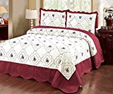 Home Must Haves Burgundy Floral White Embroidery Size 100% Polyester Bed Cover Bedspread Set Quilt Coverlet Ensemble with Two Shams (King