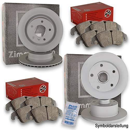 Zimmermann Bremsscheiben Scheibenbremse vorne + hinten + Zimmermann Bremsbeläge Bremsbelagsatz Klötze Vorderachse + Hinterachse