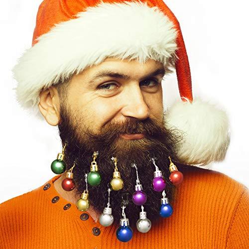 ANJOU Bunte Kugeln 12pcs Schmuck Geschenk, Weihnachten Fest Movember Kostüm für Bart, Haar, Haustier, 6 helle Farben: Rot, Grün, Blau, Lila, Gold und Silber