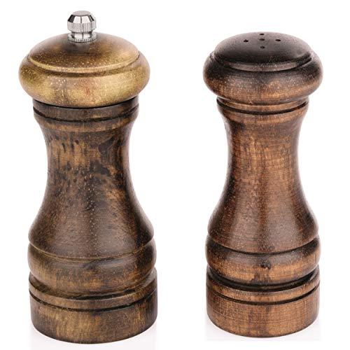 Gastro Spirit Pfeffermühle und Salzstreuer Set aus Holz, 2-teilig, mit Keramikmahlwerk, ca. 13 cm Höhe, Dunkelbraun gemasert