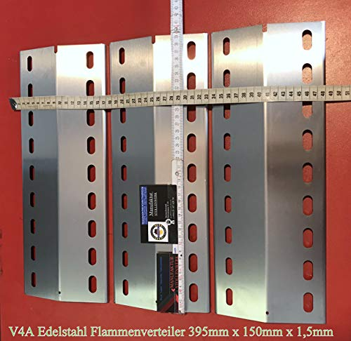 HZ1BBQde 3 STK. Premium V4A 1,5mm Stark Flammenverteiler Edelstahl-Manufaktur Gasgrill Ersatz-Set/Flammenblech/Grillblech/Brennerabdeckung/Flammenabdeckung/Gasgrill (3Stk.-395-150-1,5-V4A)