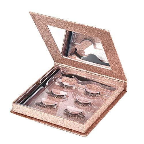 Cicony Kit de Faux Cils magnétiques, 3 Paires de Faux Cils avec Eye-Liner, Pince à épiler, boîte-Cadeau