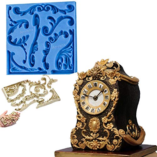 Anyana Baroque Vintage Scroll sculpted 3d Retro Palace Lace mould cake Fondant silicone gum paste mold for Sugar paste wedding birthday cupcake decorating topper decoration sugarcraft décor