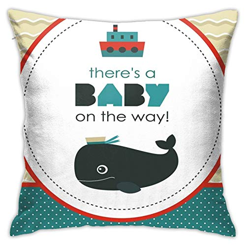 FULIYA Abstract Art Decorative Pillow Cover 18x18,There Is A Baby On The Way Cartoon Dolphin Abstract Ocean Waves Circular,Square Pillowcase for Living Room/Car