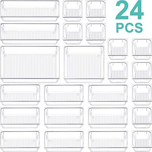 24 PCS Drawer Organizer Plastic Makeup Drawer Organizer 5 Size Silverware Drawer Organizer Versatile Kitchen Utensil Bathroom Office Storage Drawer Divider Bin Tray for Desk Dresser Vanity Cabinet