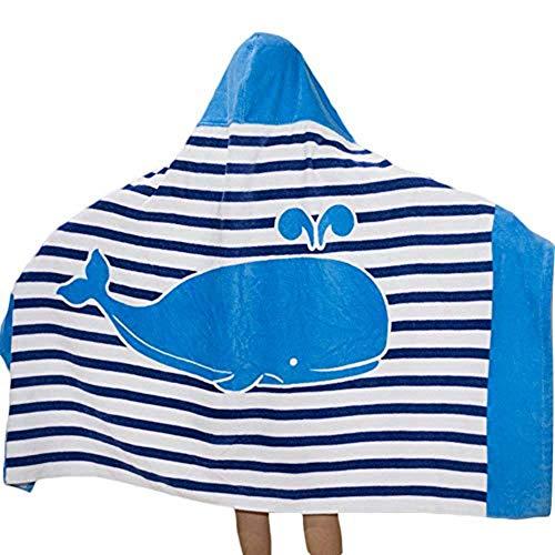 Niños Niñas Toalla de Playa con Capucha - Bebé Bata de Baño 100% Algodón Toalla de Baño Dibujos Animados Manta de Baño Natación (Azul)
