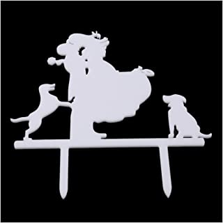 VWH Unique Wedding Cake Topper Bride and Groom Silhouette with 2 Dog,White