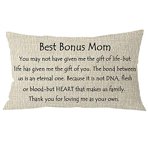 NIDITW Nice Mother-in-Law Stepmother Birthday Gift Best Bonus Mom Body Lumbar Cream Burlap Throw Pillow Cover Pillowcase Pillow Sham Sofa Couch Decorative Rectangle 12x20 inches