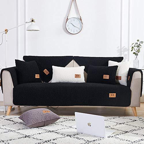 Estudio sofá cama cubre toalla de sofá, cálida seccional, funda de sofá suave de invierno para sofá de cuero y de tela, resistente al desgaste, funda de sofá de salón, color negro _110 x 180 cm