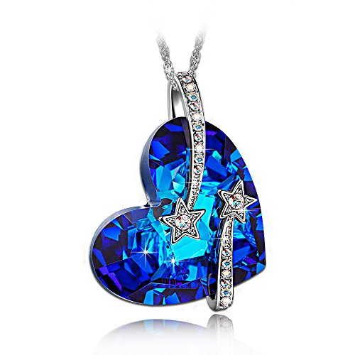 LADY COLOUR Heart Necklaces for Women with Blue Crystals Gifts for Women Jewelry for Women Gifts for Her Wife Birthday Gifts for Best Friend Mom Grandma I...