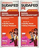 Children's Sudafed PE Nasal Decongestant Non-drowsy Raspberry Flavor Liquid 4-Ounce (Pack of 2)