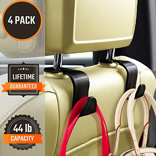 Sunferno Car Headrest Hooks 4 Pack - Exceptionally Stylish Back Seat Hanger for Your Purse, Grocery Bags, Handbag to Keep Them from Sliding Around While Driving - Car Seat Organizer Accessory - Black