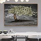 wZUN Dollar Argent Arbre décoration de la Maison Affiches et Impressions peintures murales Million de Dollars Millionnaire Image pour Salon décoration Peinture 50X75 CM