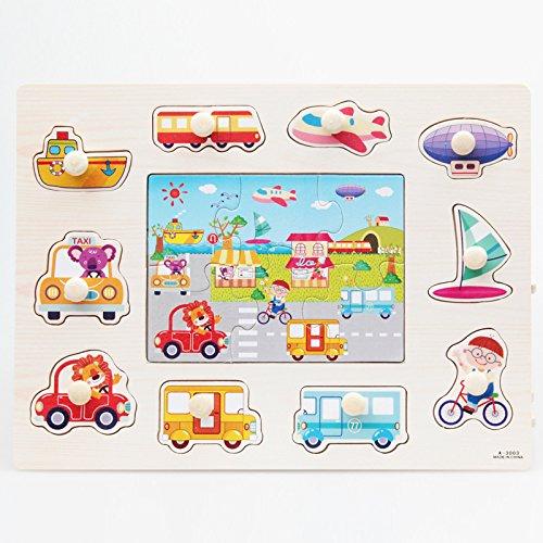 Puzzle en Bois Enfant Jeu éducatif Véhicule Transport Jouet Cadeau pour Bébé