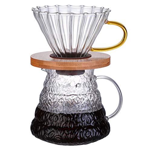 Macabolo Borosilicaatglas koffie server hoge temperatuur bestendig glas koffiepot filter bier met houten blad trechter