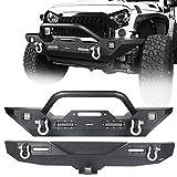 Hooke Road Wrangler JK Front Bumper + Rear Bumper Combo w/All LED Lights Compatible with Jeep Wrangler JK &...