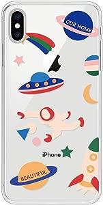 Miagon Clear Case for iPhone XS X Creative Cute Design Slim Soft Flexible TPU Back Cover Phone Case Space