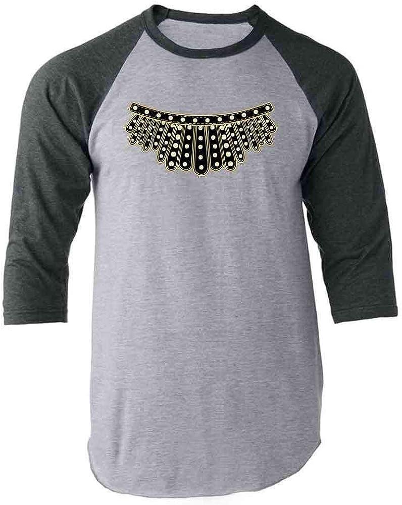 Pop Threads RBG I Dissent Jabot Collar Ruth Bader Ginsburg Gray 2XL Raglan Baseball Tee Shirt