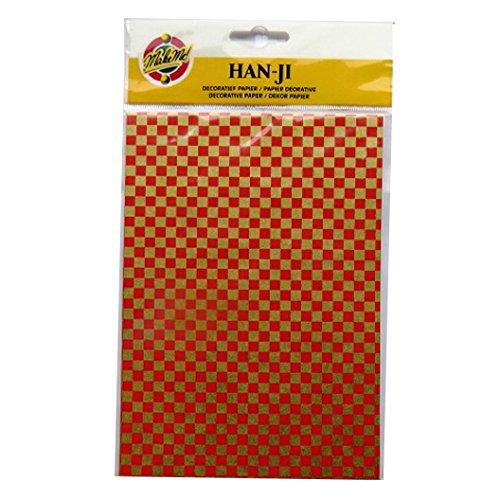 Handgefertigte Dekorative Koreanischen Han-Ji Maulbeerpapier - 2 Designs - Quadrate und Farbe Blumen - 3 Blatt von jeder - Größe 212mm x 151mm