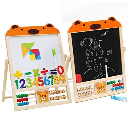2 EN 1 NIÑOS Pizarra de madera Soporte de caballete Tablero de aprendizaje Vinyl Draw Pizarra + Pizarra blanca Con Soporte de madera Juego de enseñanza