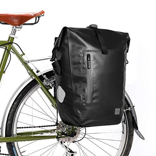 G-raphy 25L Bolsa Alforja Trasera para Bicicleta, Grande Bolsa Bicicleta Multifunción Carretera MTB Bicicleta de Montaña (Negro)