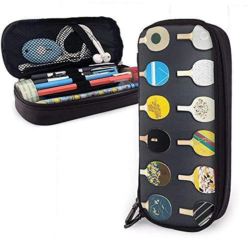 PU-Leder-Federmäppchen mit Reißverschluss, Tischtennis-Tischtennisplatte Aufbewahrungsmarkierungsetui-Stifthalter, Schminktasche