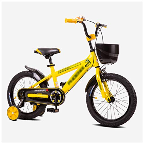 Buy LZY Kids Bike with Training Wheels & Coaster Brake, Boys Children Bicycle with Basket, Adjustable Height Seat, Yellow (Size : 18inch)