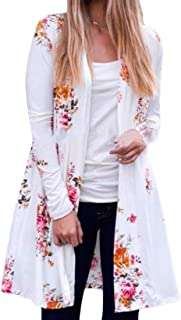 Womens Lightweight No-Buttons Loose Fit Casual Floral Cardigan Jackets
