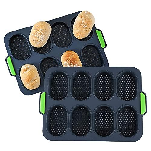 Patelnie do bagietek do pieczenia, 2-pakowa silikonowa mini blacha do pieczenia bagietek, nieprzywierająca bułka hamburgerowa do kanapek - narzędzia do pieczenia bez BPA
