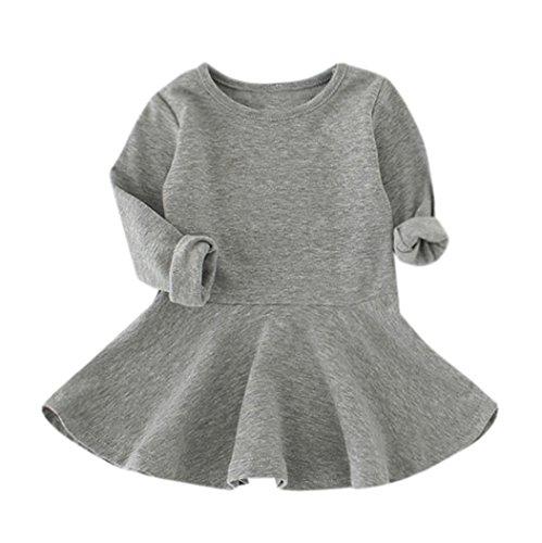 Robe de Bébé de Fille, Internet Casual Solide Robe Princesse à Manches Longues Couleur Bonbon - Mélange de Coton - pour 1-4 Ans (92 (2 Ans), Gris)