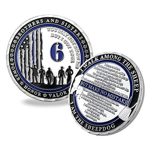 ASmileIndeep Police K9 Challenge Coin Thin Blue Line Law Enforcement Challenge Coin I Got Your 6