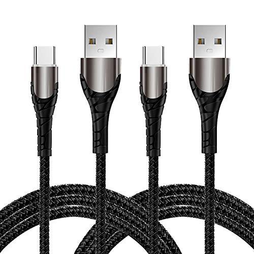 YIANERM Cable USB C de 1M carga rápida, 2 cables tipo C de transferencia de sincronización de datos trenzados de nailon, para Xiaomi y SUMSUNG y otros cargadores USB C (negro)