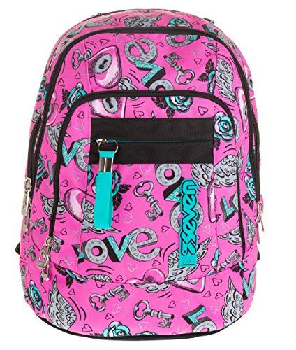 Zaino scuola advanced SEVEN - KEYS - Rosa - 30 LT - inserti rifrangenti - Supporto USB