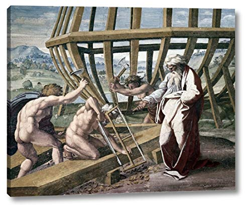 """Noah Building The Ark by Raphael - 17"""" x 20"""" Canvas Art Print Gallery Wrapped - Ready to Hang"""