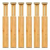 Separadores de cajones ajustables de bambú – Separadores de organización de cajones expandibles para cocina, aparador, dormitorio, baño y oficina, paquete de 6 (12.25-17.25 pulgadas)