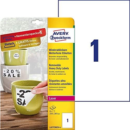 AVERY Zweckform L4775REV-8 Wetterfeste Folien-Etiketten, wiederablösbar (210x297 mm auf DIN A4, selbstklebend, bedruckbare Outdoor Klebefolie) 8 Aufkleber auf 8 Blatt weiß