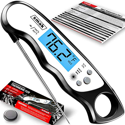 Digital Instant Read Meat Thermometer - Smak Waterproof Kitchen Food Cooking Thermometer with Backlight LCD - Best Super Fast Electric Meat Thermometer Probe for BBQ Grilling Baking Turkey Black