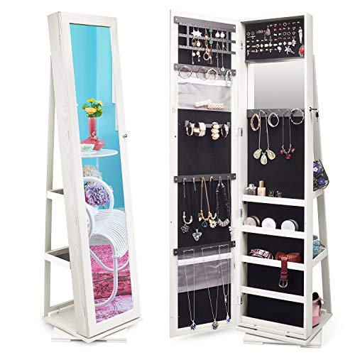 TWING Jewelry Organizer Jewelry Cabinet 360 Rotating, Lockable Standing Wall...