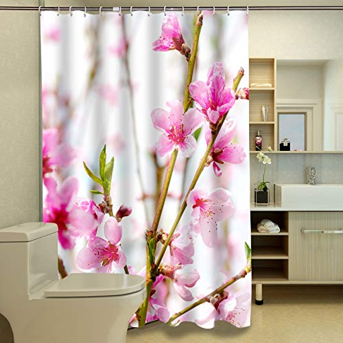 JZDH Shower Curtain for Bathroom Pink Peach Blossom Pattern Shower Curtain, Digital Printing Waterproof Shower Curtain With 12 Hooks