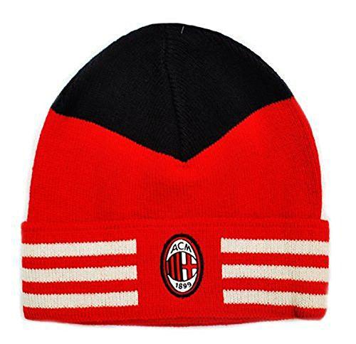 adidas AC Milan Beanie - Gorro de invierno negro y rojo, talla...